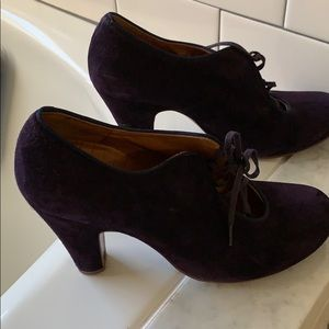 purple suede Chie Mihara lace up bootie heels 39